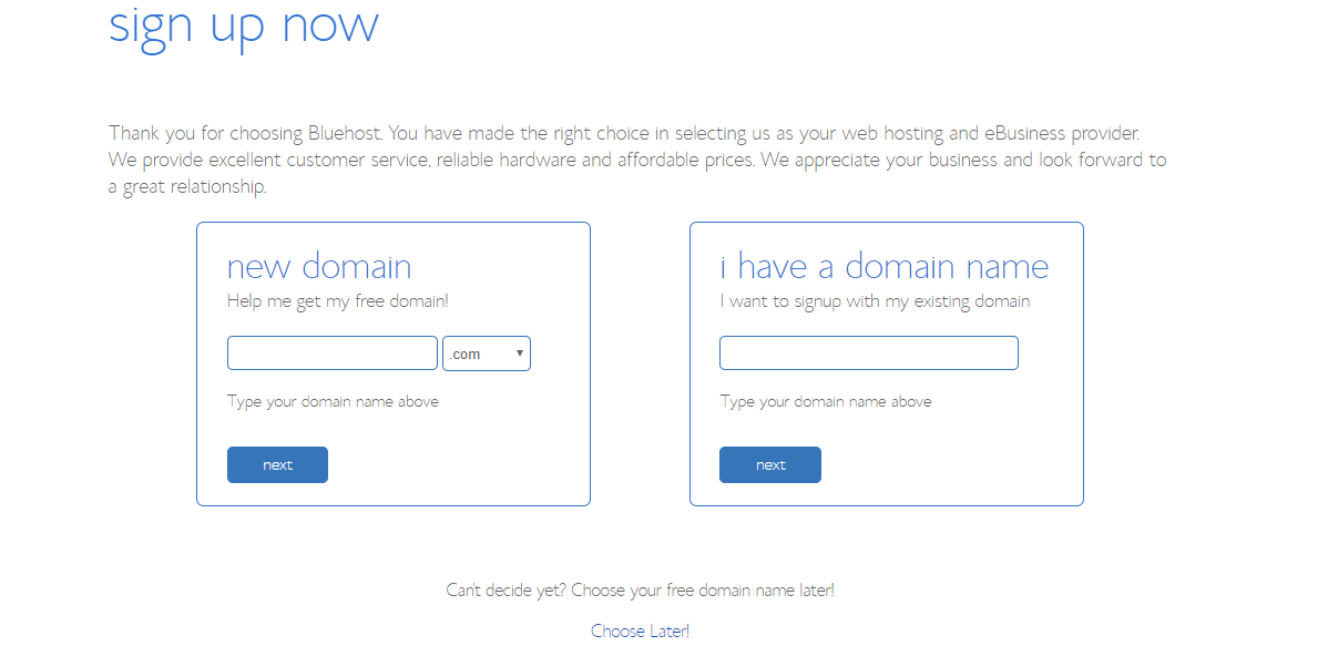 Choose Domain Tp Bluehost discounts