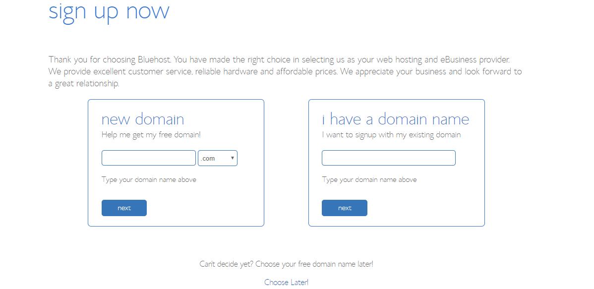 Choose Domain Tp Bluehost discounts